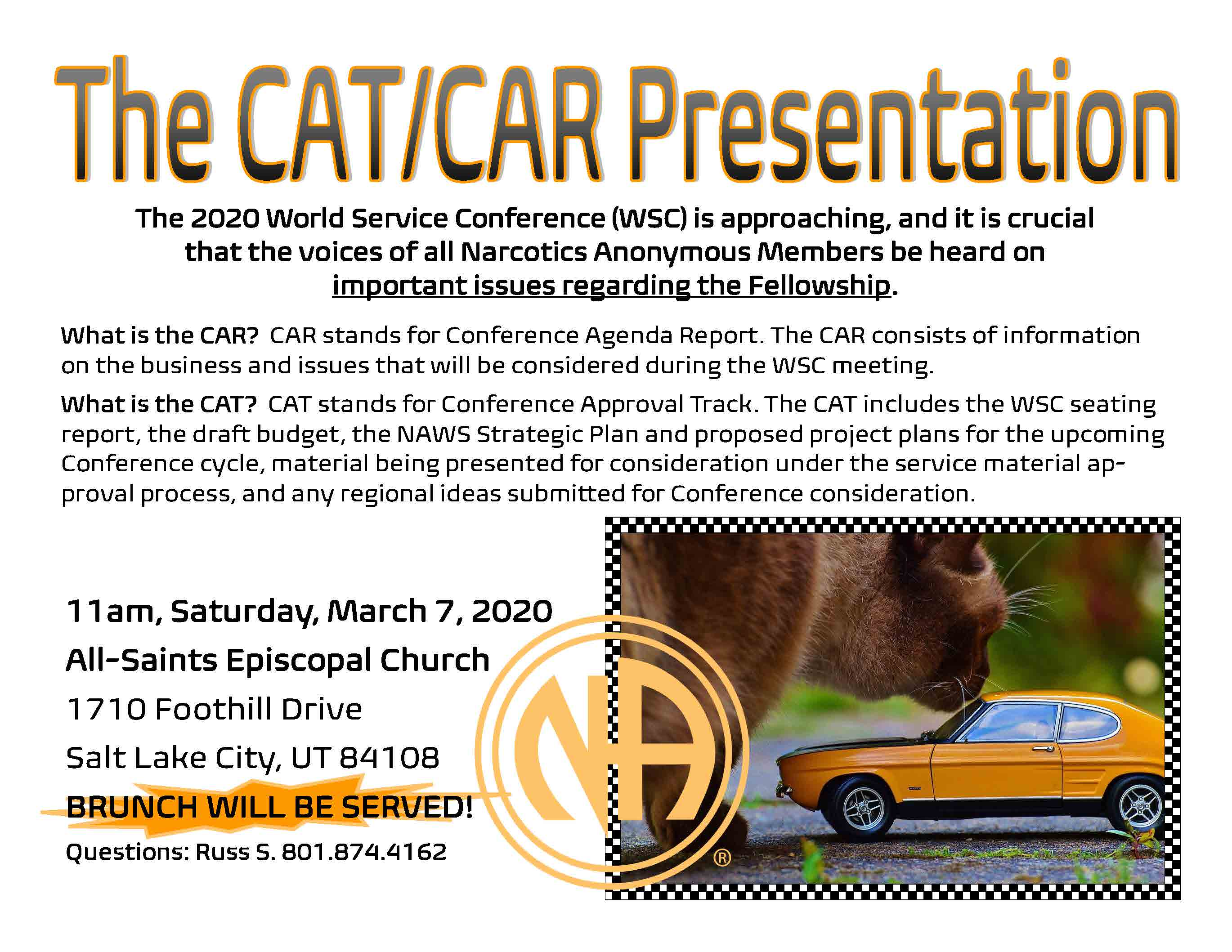 car and cat presentation flyer